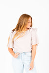 The Ernie Bow Detail Blouse in Taupe, studio shoot; front view