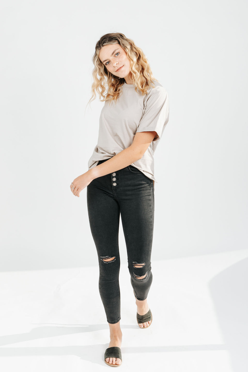 Free People: Sabrina Super Skinny Jean in Black, studio shoot; front view