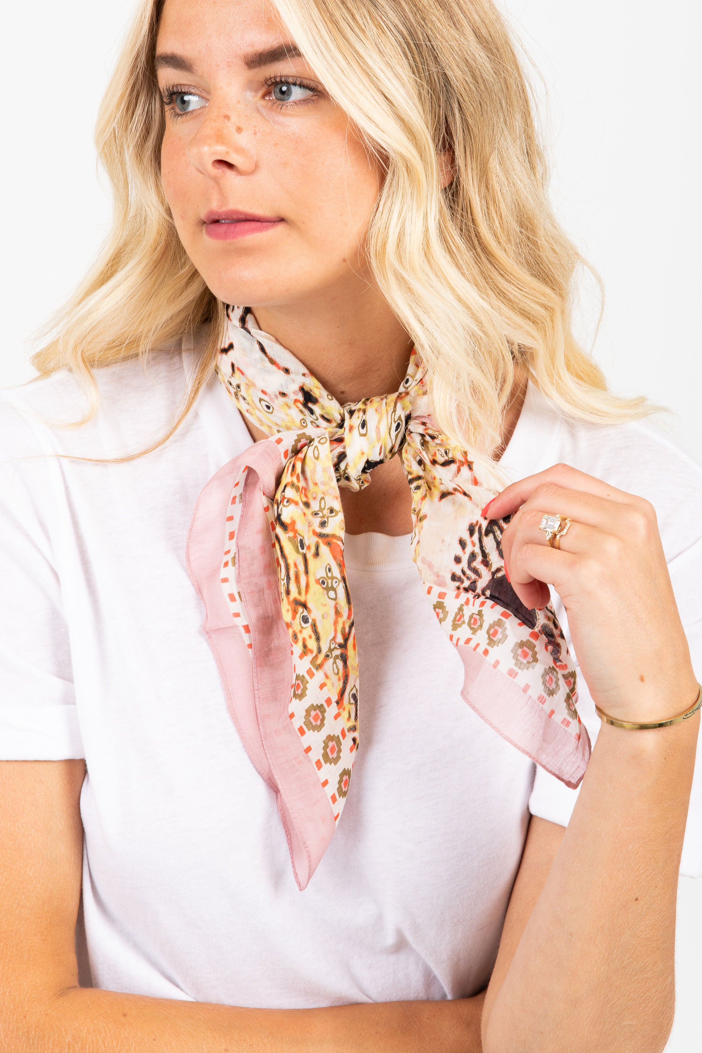 Watercolored Floral Bandana in Blush