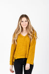 The Winstone Casual V-Neck Sweater in Mustard, studio shoot; front view