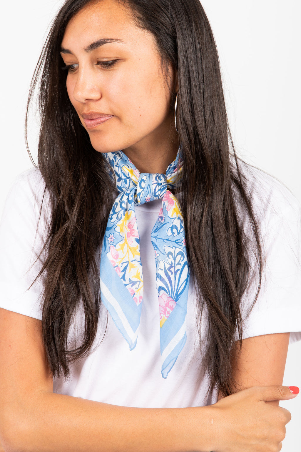 Damask Floral Bandana in Blue