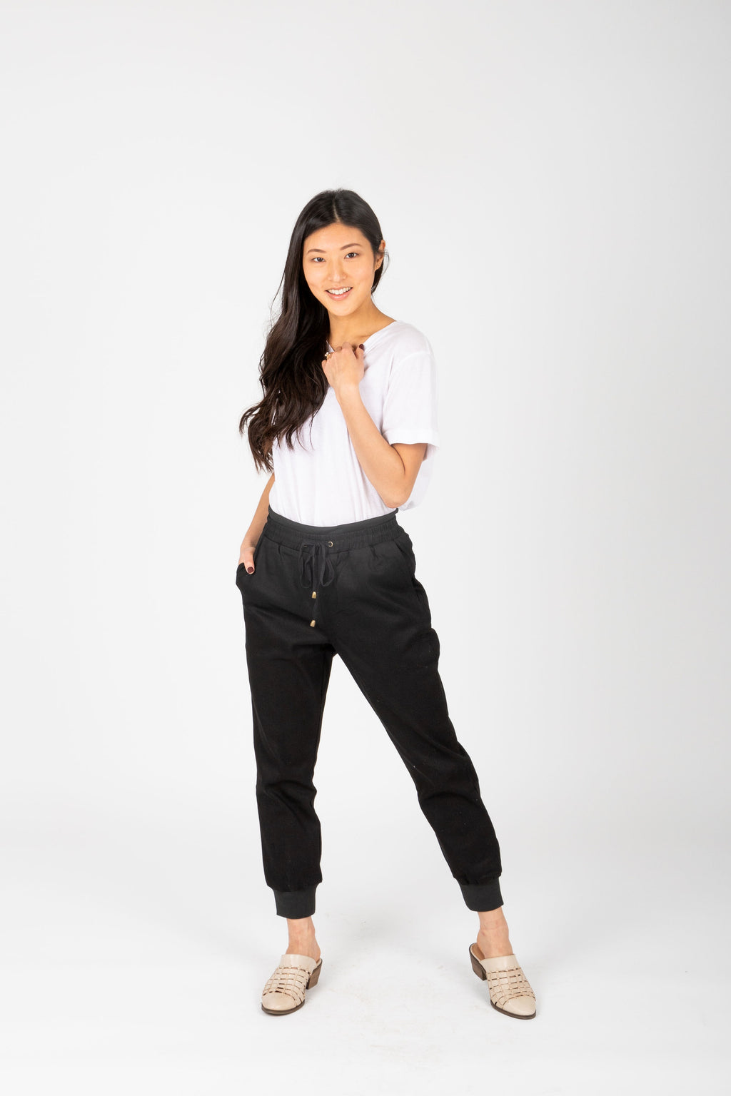 The Denim Jogger in Black, studio shoot; front view