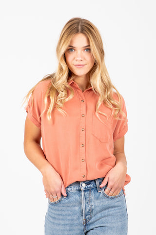 The Valley Waffle Tie Front Blouse in Oatmeal