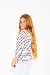 The Winslet Striped Boat Neck Blouse in Red + Blue
