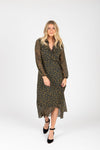 The Ruth Patterned Wrap Dress in Navy, studio shoot; front view