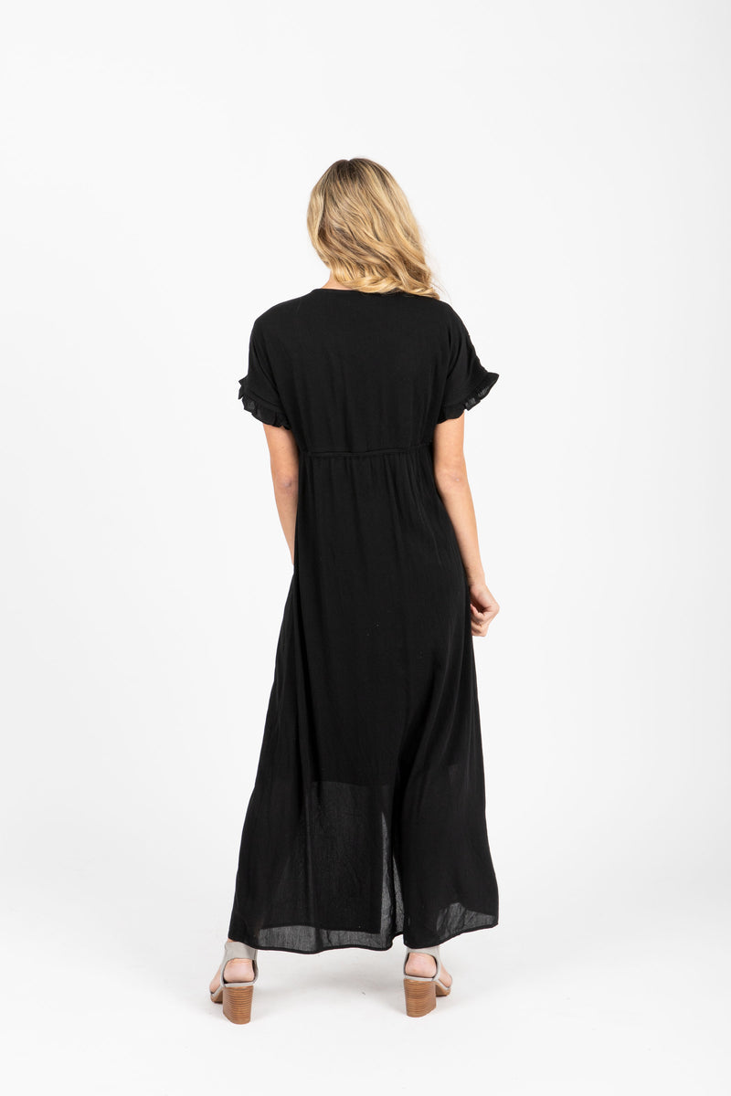 Piper & Scoot: The Brookner Embroidered Maxi Dress in Black