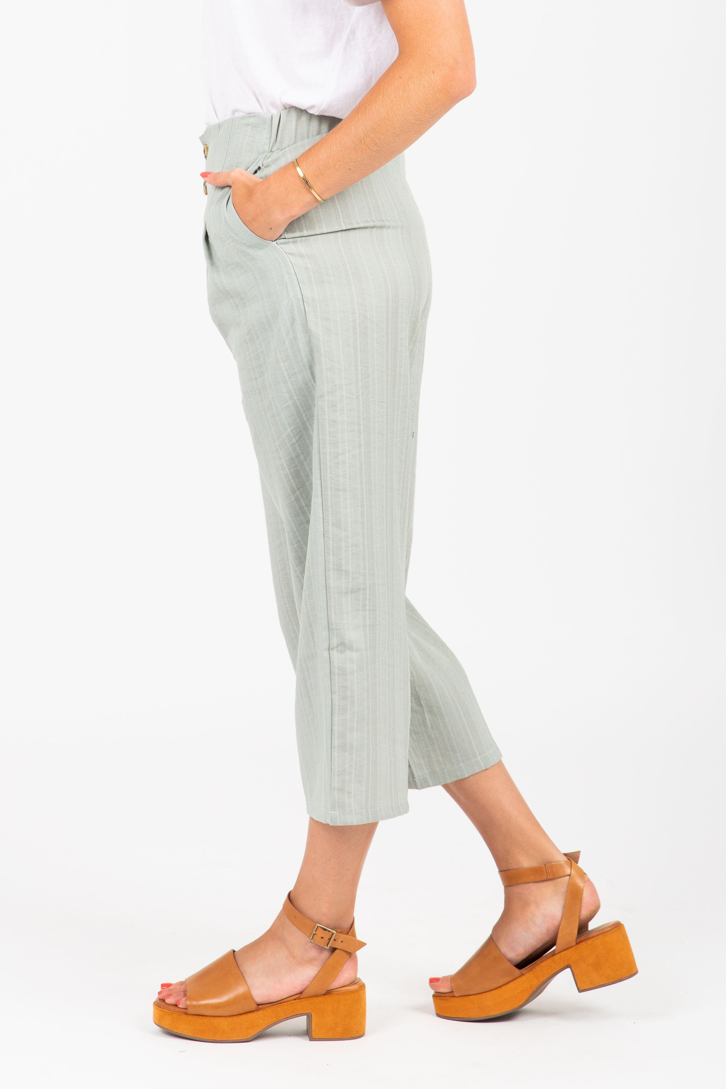 The Folly Button Wide Leg Trouser in Sage