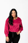 The Shana Corduroy Blouse in Ruby, studio shoot; front view