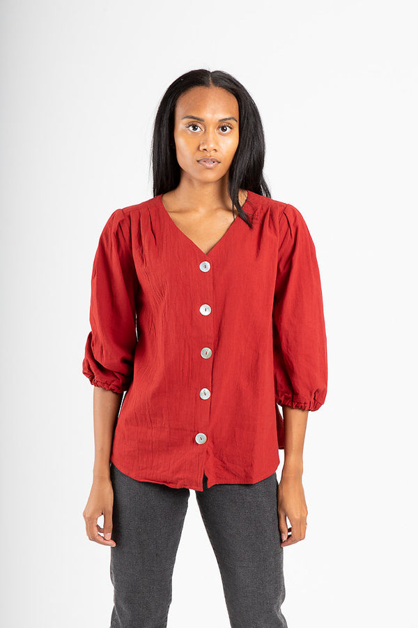 The Hammond Button Blouse in Ruby