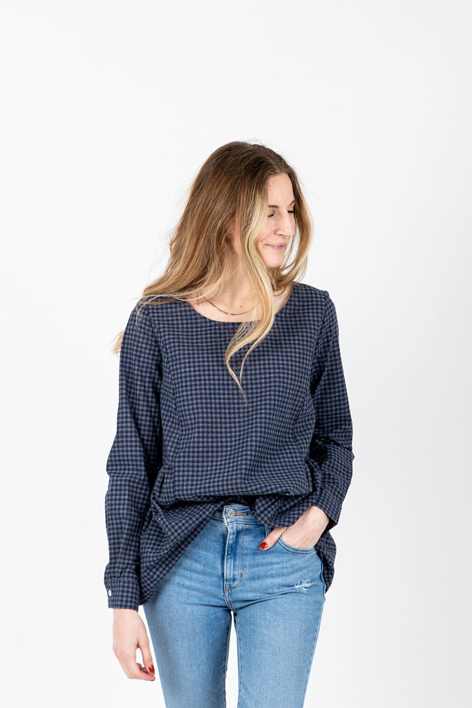The Felipe Gingham Peplum Blouse in Navy, studio shoot; front view