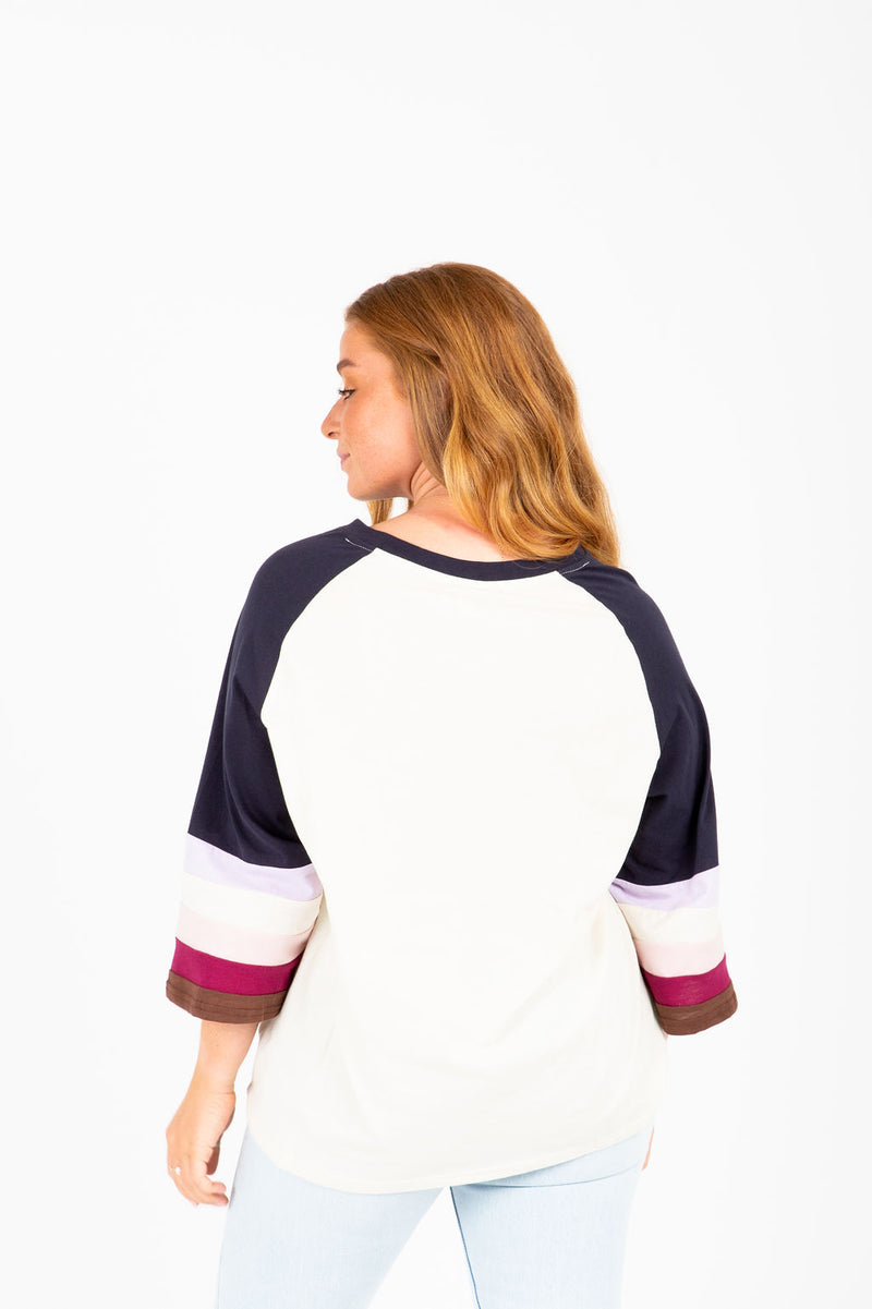 The Shelley Colorblock Crew in Navy, studio shoot; back view