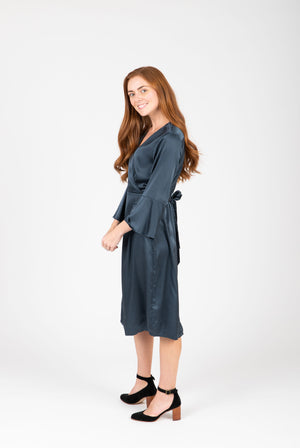 The Tull Satin Flare Sleeve Dress in Stone, studio shoot; side view
