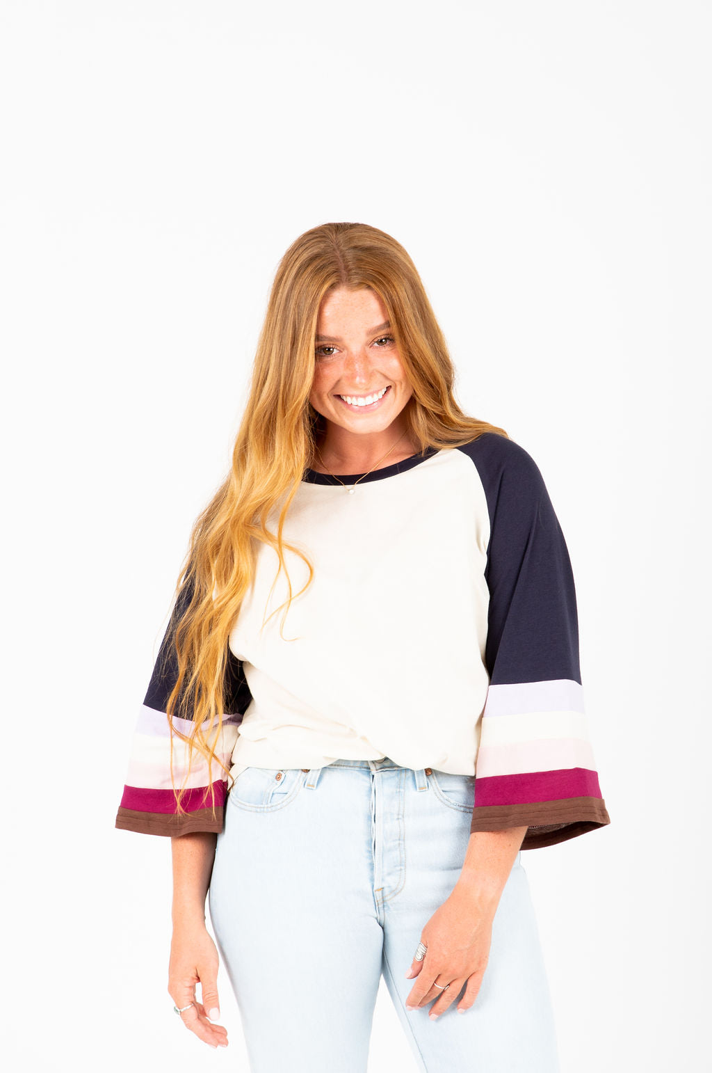 The Shelley Colorblock Crew in Navy, studio shoot; front view