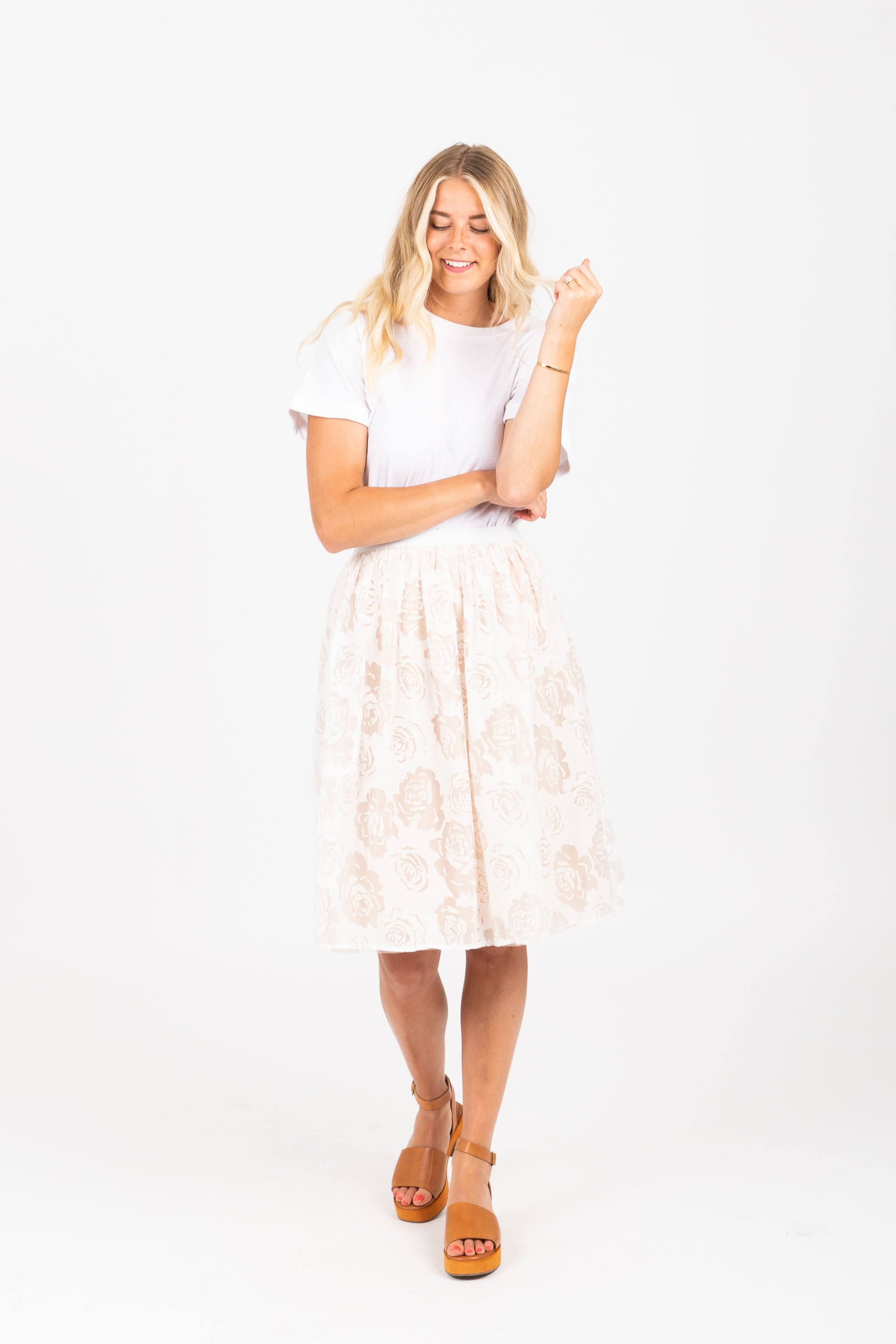 Piper & Scoot: The Kathleen Floral Tulle Skirt in Ivory