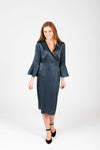 The Tull Satin Flare Sleeve Dress in Stone, studio shoot; front view