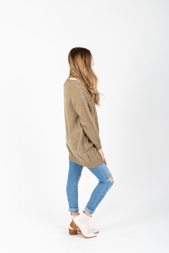 The Swinton Cable Knit Cardigan in Olive, studio shoot; side view