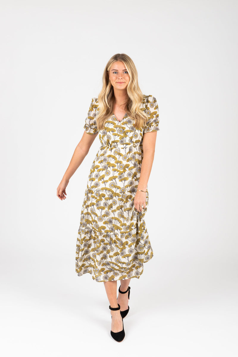 The Jackman Floral Tiered Dress in Cream, studio shoot; front view