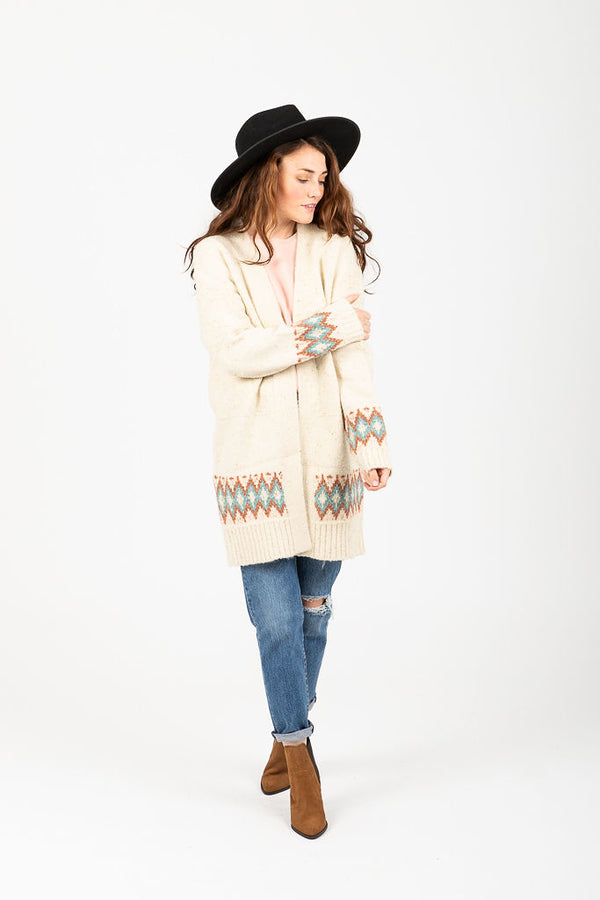 The Sullivan Patterned Cozy Cardigan in Cream