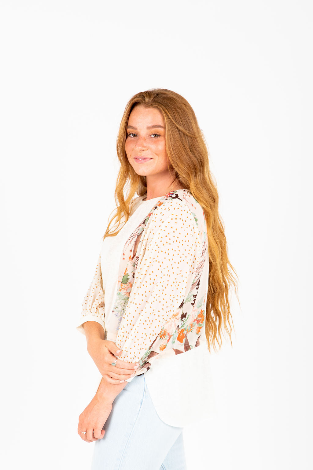 The Bo Floral Sleeve Blouse in Cream