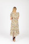 The Jackman Floral Tiered Dress in Cream, studio shoot; back view
