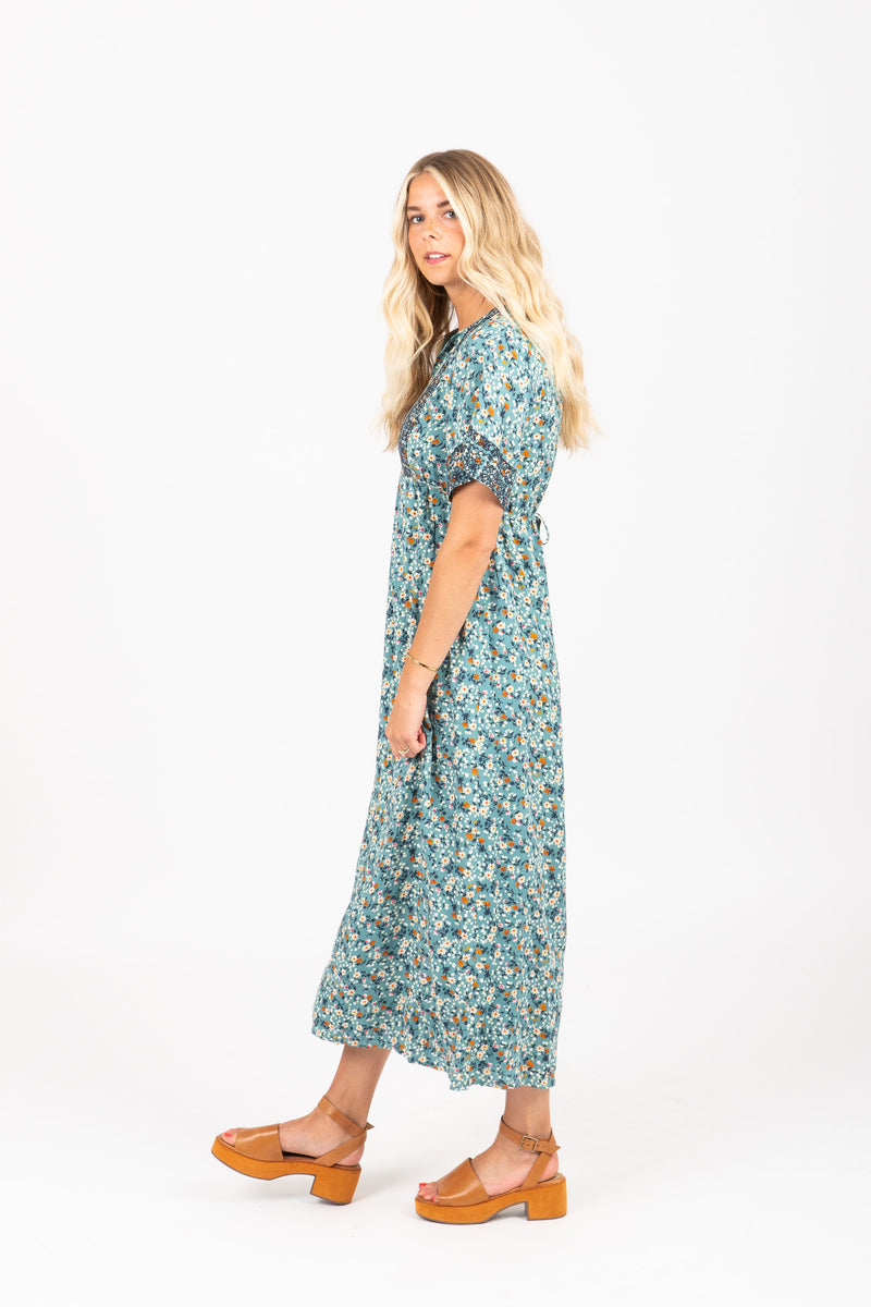 Piper & Scoot: The Dubonnet Floral Bib Detail Dress in Blue