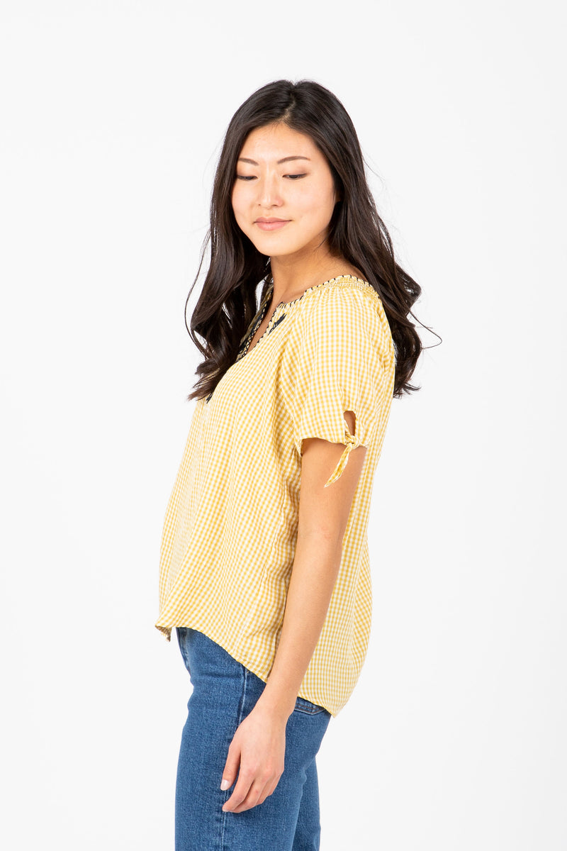 The Lingle Embroidered Gingham Blouse in Pale Yellow