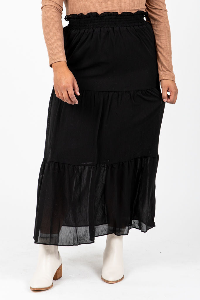 The Jason Tiered Skirt in Black