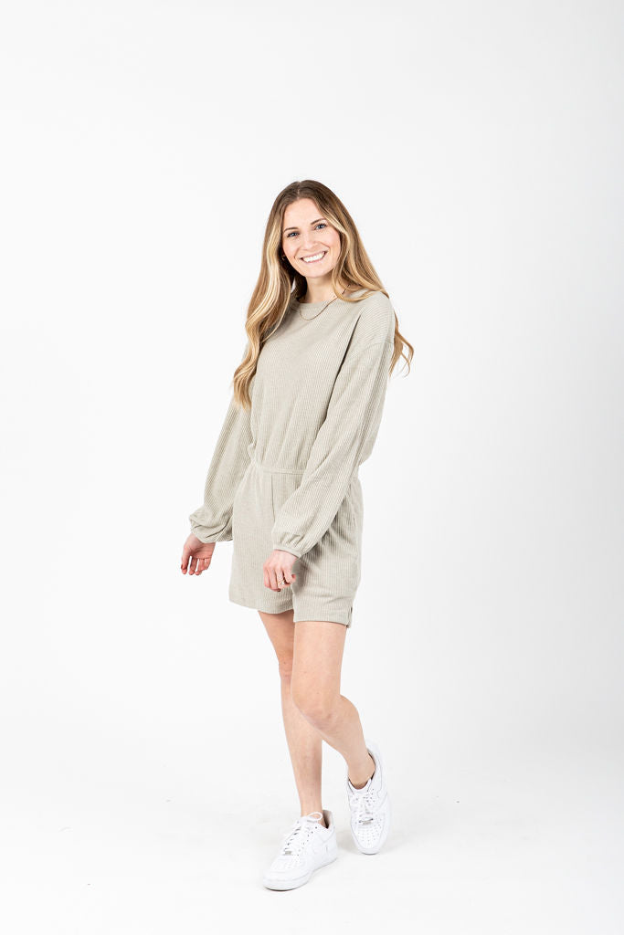 The Keynes Ribbed Casual Romper in Pale Olive, studio shoot; front view
