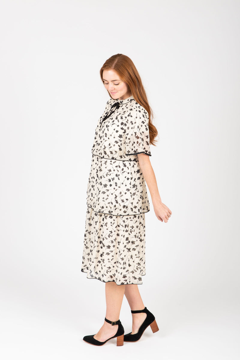 Piper & Scoot: The Helen Tiered Patterned Dress in Ivory, studio shoot; side view
