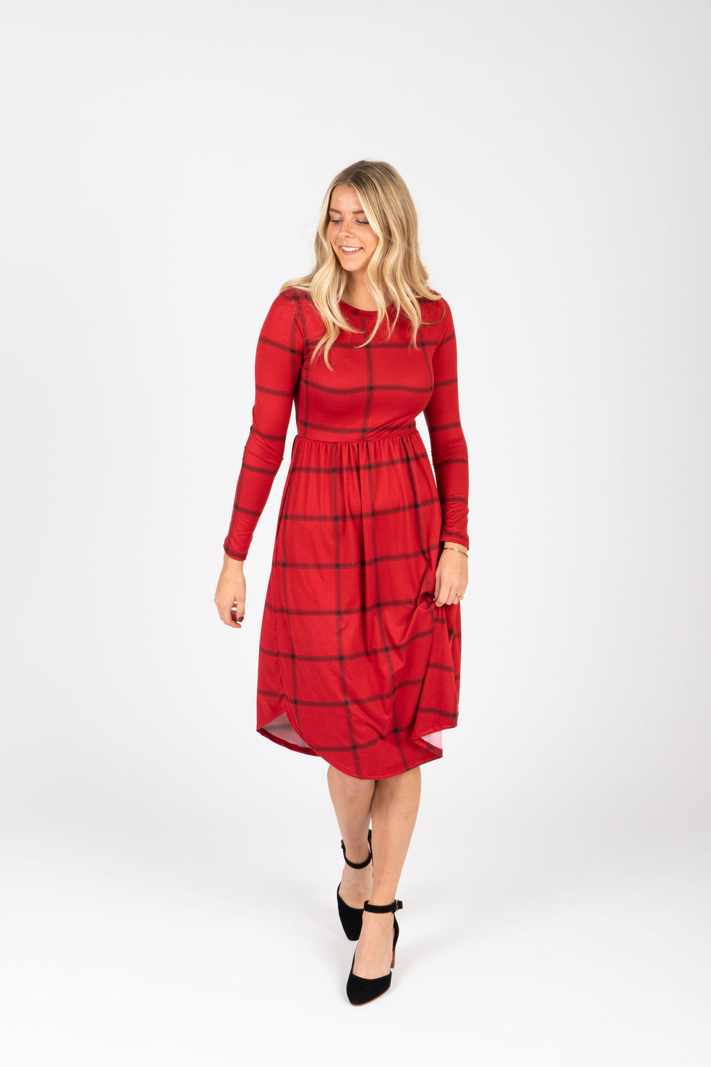 The Fiona Check Empire Dress in Burgundy, studio shoot; front view