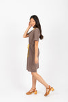The Goldstein Striped Casual Dress in Navy, studio shoot; side view