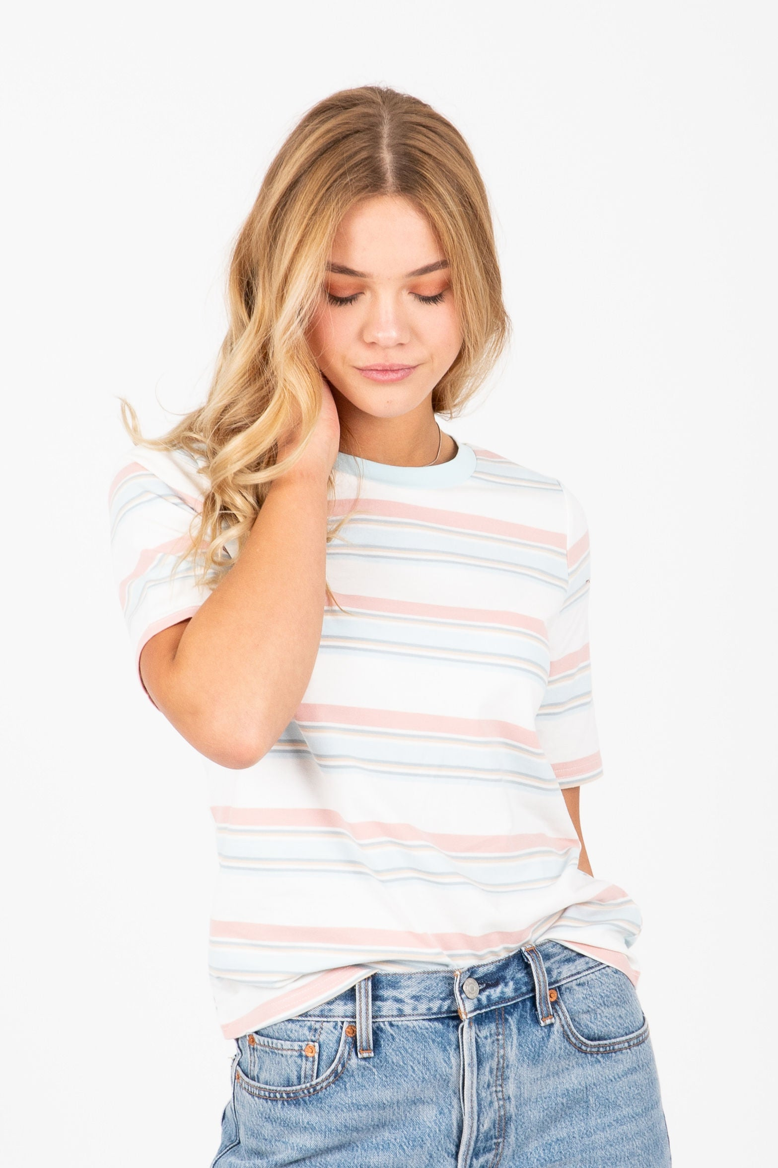 The Moxee Striped Tee in Blush