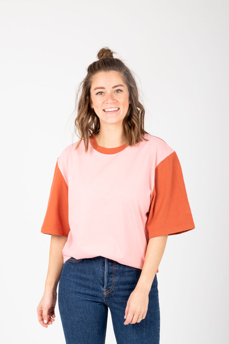 Levi's: Oversized Sleeve Tee Shirt in Faded Peach, studio shoot; front view