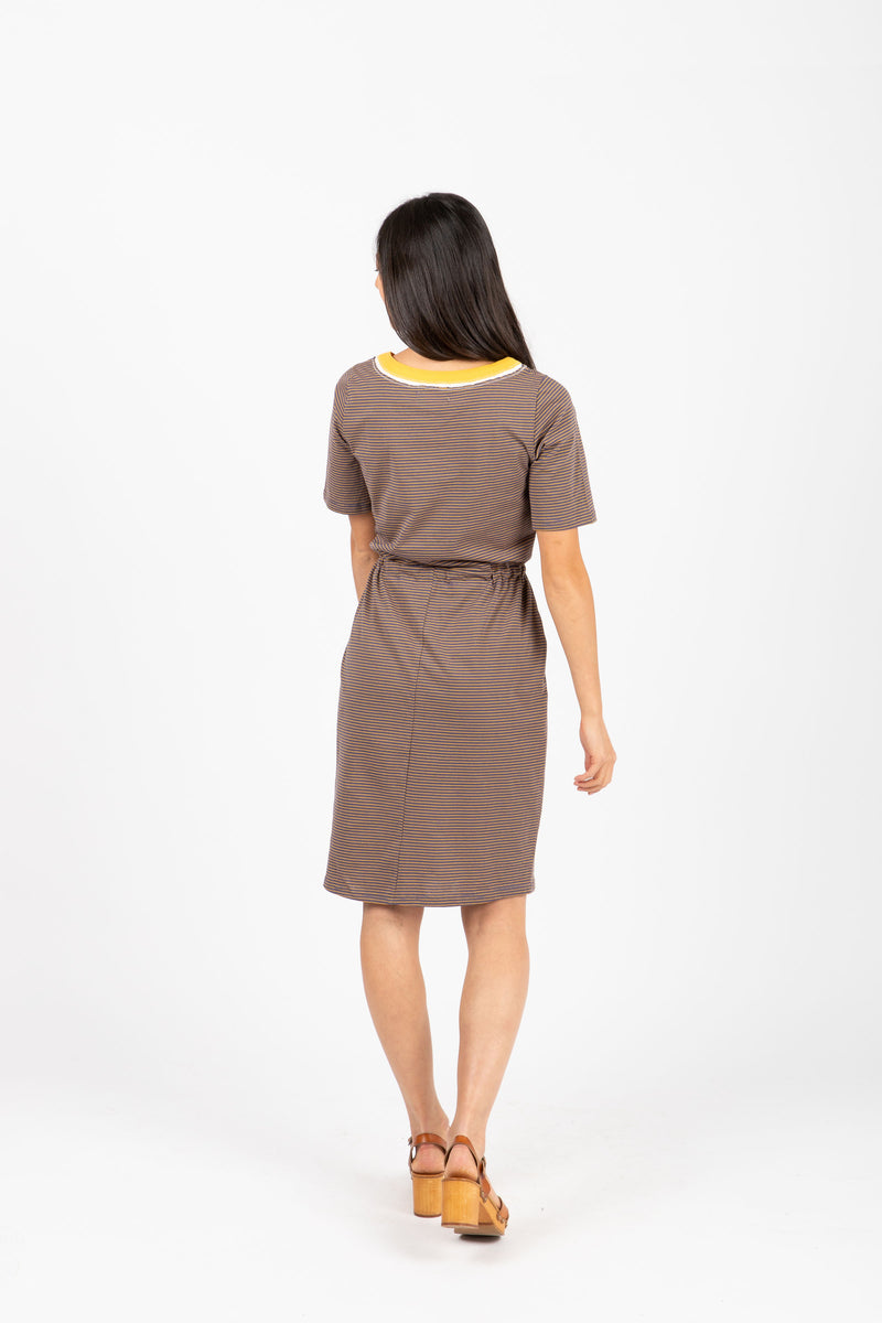 The Goldstein Striped Casual Dress in Navy, studio shoot; back view