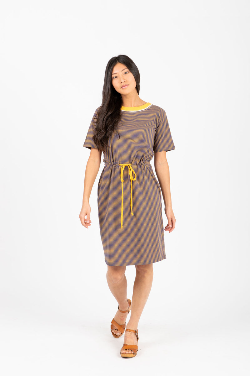 The Goldstein Striped Casual Dress in Navy, studio shoot; front view