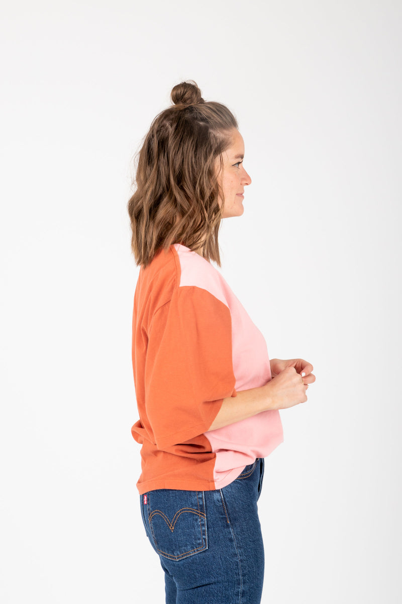 Levi's: Oversized Sleeve Tee Shirt in Faded Peach, studio shoot; side view
