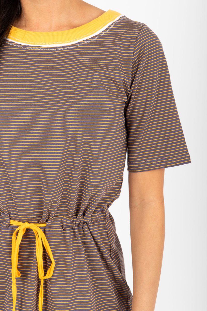 The Goldstein Striped Casual Dress in Navy, studio shoot; closer up front view