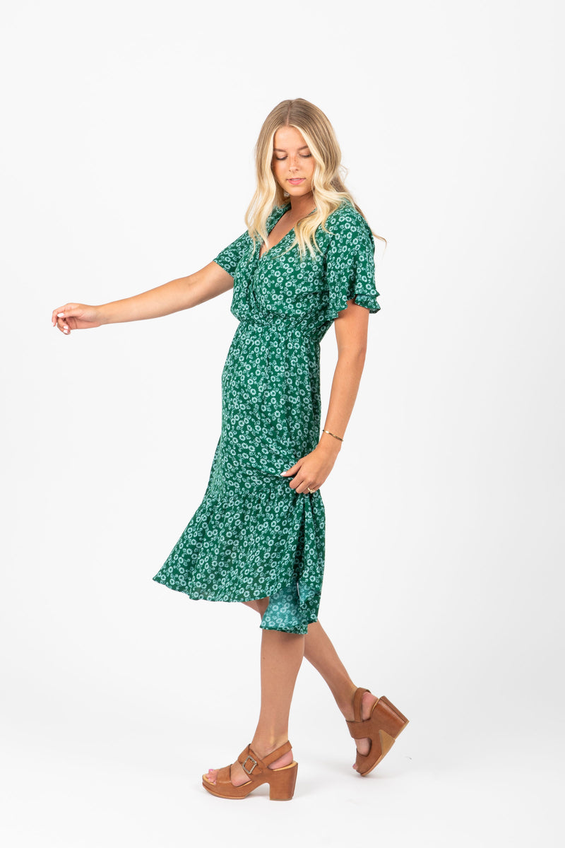 The Bright Side Floral Wrap Dress in Jade