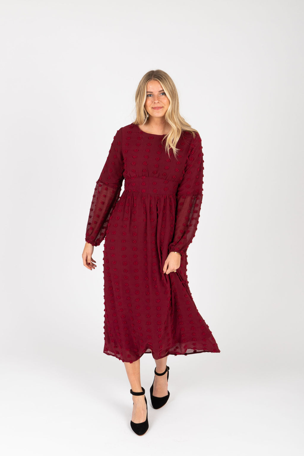 Piper & Scoot: The Jane Swiss Dot Empire Dress in Burgundy, studio shoot; front view