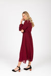 Piper & Scoot: The Jane Swiss Dot Empire Dress in Burgundy, studio shoot; side view