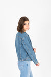 Levi's: Ex-Boyfriend Trucker Jacket in Concrete Jacket, studio shoot; side view
