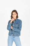 Levi's: Ex-Boyfriend Trucker Jacket in Concrete Jacket, studio shoot; front view