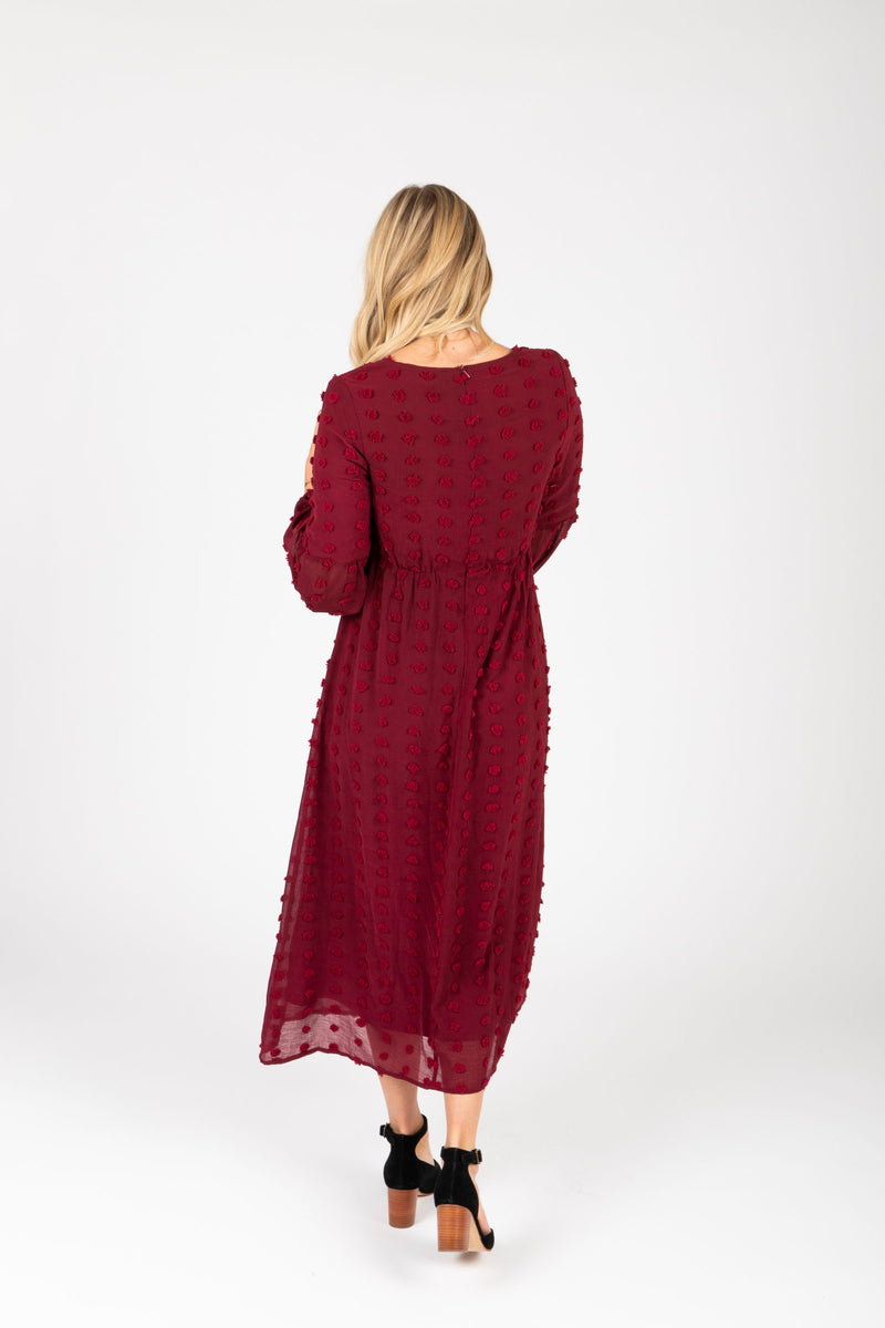 Piper & Scoot: The Jane Swiss Dot Empire Dress in Burgundy, studio shoot; back view