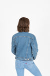 Levi's: Ex-Boyfriend Trucker Jacket in Concrete Jacket, studio shoot; back view