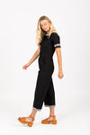 Piper & Scoot: The Brooke Embroidered Trim Pom Jumpsuit in Black