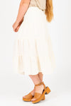 The Ronan Tiered Button Skirt in Cream