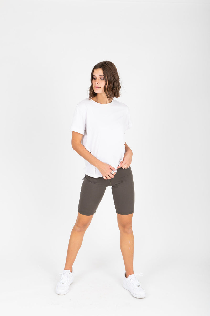 The Thick Knit Biker Short in Olive, studio shoot; front view