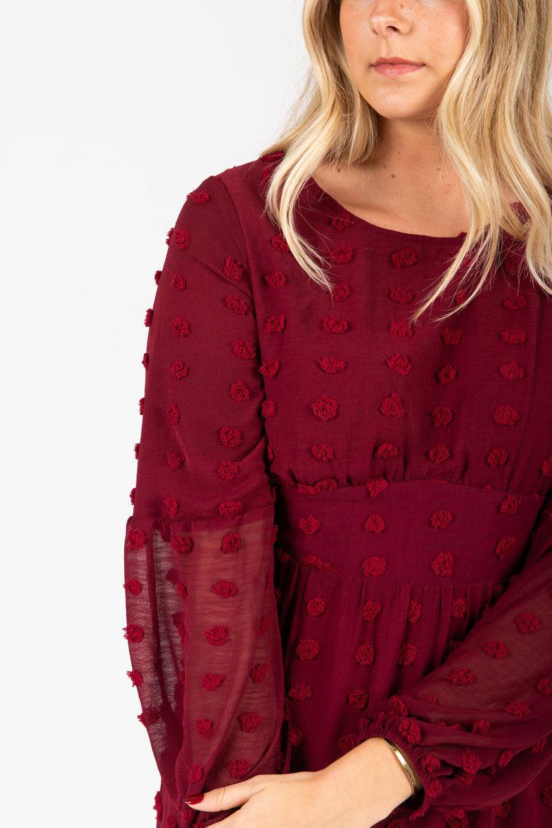 Piper & Scoot: The Jane Swiss Dot Empire Dress in Burgundy, studio shoot; closer up front view