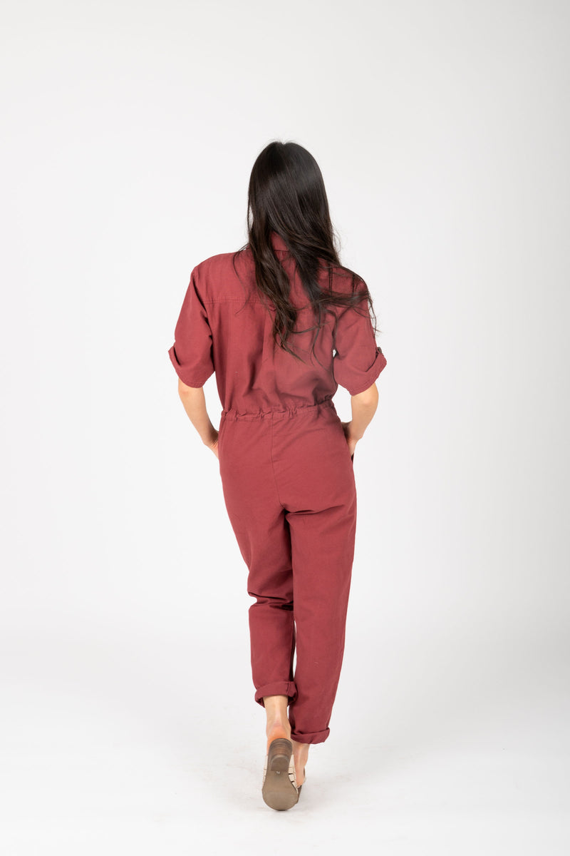 The Winnett Boiler Jumpsuit in Faded Berry, studio shoot; back view