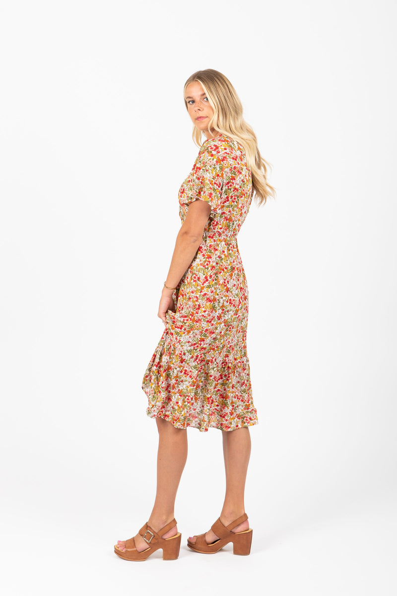 The Blink Floral Wrap Dress Poppy